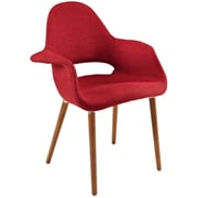 Modway Taupe Fabric Dining Accent Armchair, Red