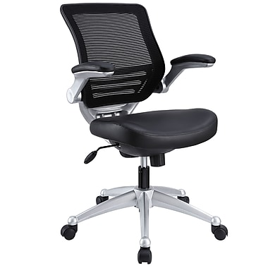 Modway Edge Mid-Back Leather Task Chair, Adjustable Arms, Black