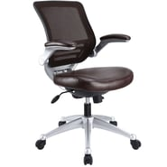 Modway Edge Leather Mesh Back Office Chair, Brown