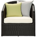 Modway Cozy Synthetic Rattan Weave Patio Armchair, Espresso/White