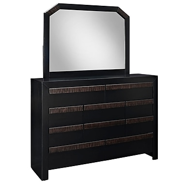 Modway Tommy Dresser and Mirror, Black, 73 1/2in. x 16 1/2in. x 57 1/2in.
