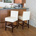 Home Loft Concept Brinkley KD Tufted  Counter Stool (Set of 2); Ivory