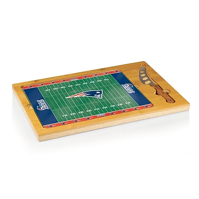 Picnic Time NFL Licensed Icon New England Patriots Digital Print Cutting Board, Natural Wood