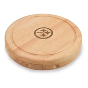 """Picnic Time® NFL Licensed Brie """"Pittsburgh Steelers"""" Engraved Cheese Board Set W/Tools, Wood/Brown"""