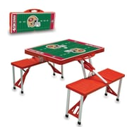 """Picnic Time® NFL Licensed """"San Francisco 49Ers"""" Digital Print ABS Plastic Sport Picnic Table, Red"""