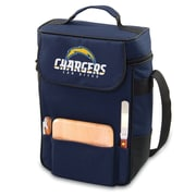 "Picnic Time® NFL Licensed Duet ""San Diego Chargers"" Digital Print Wine Picnic Tote, Navy"