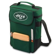 "Picnic Time® NFL Licensed Duet ""New York Jets"" Digital Print Wine Picnic Tote, Hunter Green"