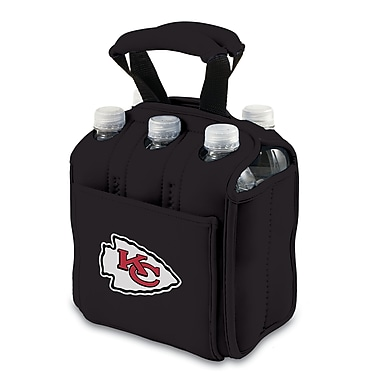 Picnic Time® NFL Licensed Six Pack in.Kansas City Chiefsin. Digital Print Neoprene Cooler Tote, Black