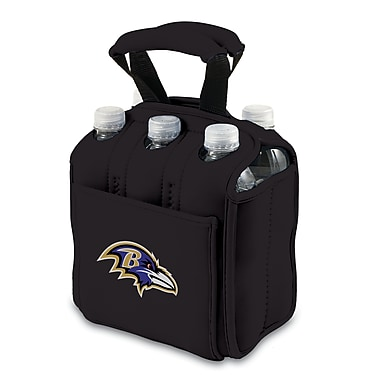 Picnic Time® NFL Licensed Six Pack in.Baltimore Ravensin. Digital Print Neoprene Cooler Tote, Black