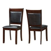 Monarch Specialties Inc. Leather Side Chair, Espresso, 2/Set (I 1827)