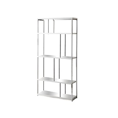 Monarch® Metal 4 Shelves Bookcase, Glossy White/Chrome
