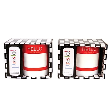 Presto Hello Mug With Handle, Red, 2/Set