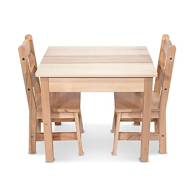 Melissa & Doug® Wooden 3-Piece Table & Chairs Set