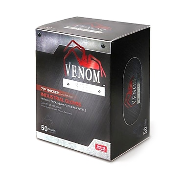 Medline® Venom™ Steel™ Powder-Free Premium Nitrile Gloves, Black, Large/XL