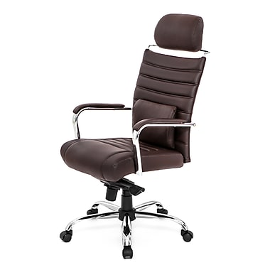 At The Office 4 Series High-Back Executive Chair With Headrest, Chocolate