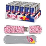 EP Memory 24/Pack Red Bull Original Energy Drink & SnowDrive 8GB USB 2.0 Flash Drive, Red Text