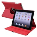 Insten® Leather 360 Deg Swivel Case For Apple iPad 2/3/4, Red