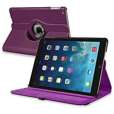 Insten® Leather 360 Deg Swivel Case With Stand For Apple iPad Air, Purple