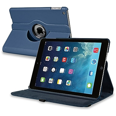 Insten® Leather 360 Deg Swivel Case With Stand For Apple iPad Air, Navy Blue