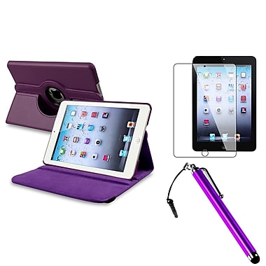 Insten 948647 Leather Swivel Case for Apple iPad Mini with Retina Display Tablet, Purple