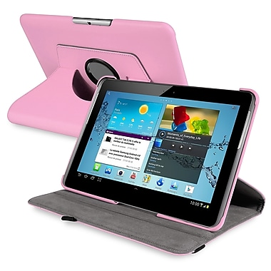 Insten® 360 Deg Swivel Leather Case For 10.1in. Samsung Galaxy Tab 2 P5100/P5110, Pink