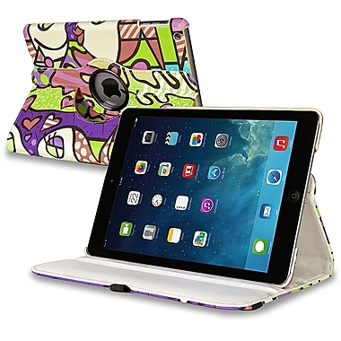 Insten® Leather 360 Deg Swivel Case With Stand For Apple iPad Air, Graffiti