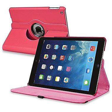 Insten® Leather 360 Deg Swivel Case With Stand For Apple iPad Air, Hot Pink