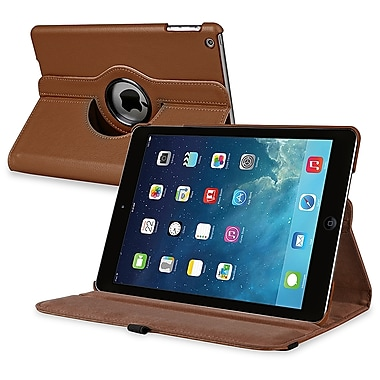 Insten® Leather 360 Deg Swivel Case With Stand For Apple iPad Air, Brown