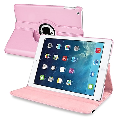 Insten® Leather 360 Deg Swivel Case With Stand For Apple iPad Air, Light Pink