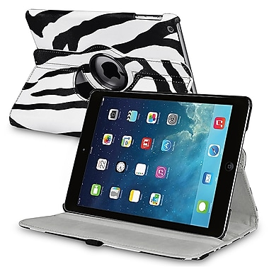 Insten® Leather 360 Deg Swivel Case With Stand For Apple iPad Air, White/Black Zebra