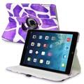 Insten® Leather 360 Deg Swivel Case With Stand For Apple iPad Air, Purple Giraffe