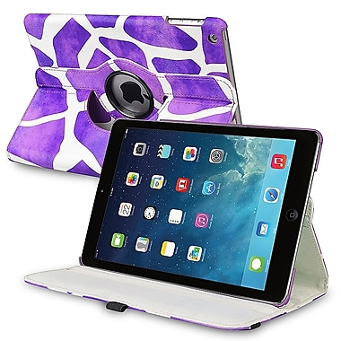 Insten® Leather 360 Deg Swivel Case With Stand For Apple iPad Air, Purple Giraffe