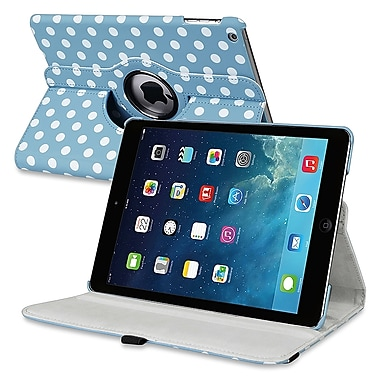 Insten® Leather 360 Deg Swivel Case With Stand For Apple iPad Air, Blue/White Polka Dots