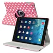 Insten® Leather 360 Deg Swivel Case With Stand For Apple iPad Air, Pink/White Polka Dots