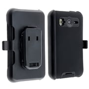 Insten® Silicone Hybrid Case With Holster For HTC Inspire 4G/Desire HD, Black/Black