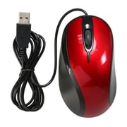 Insten® USB 2.0 Optical Scroll Wheel Mouse, Red/Black
