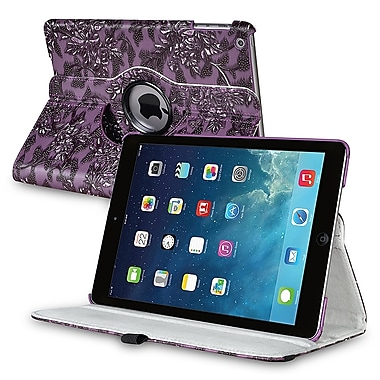 Insten® Leather 360 Deg Swivel Case With Stand For Apple iPad Air, Purple Flower