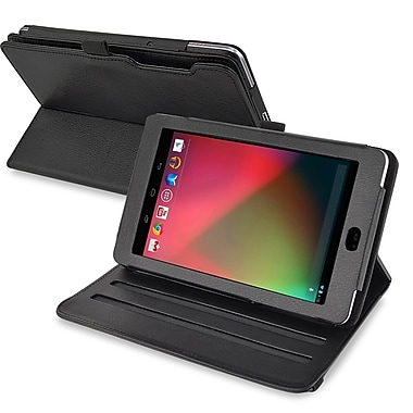 Insten® 360 Deg Swivel Leather Case For Google Nexus 7 2012 Edition, Black
