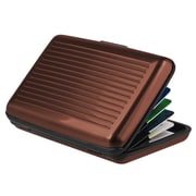 Insten® Aluminum Business Card Case With Snap Closure, Brown