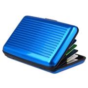 Insten® Aluminum Business Card Case With Snap Closure, Blue