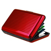 Insten® Aluminum Business Card Case With Snap Closure, Red