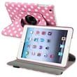 Insten® Leather 360 Deg Swivel Case With Stand For Apple iPad Mini 1/2, Pink/White Polka Dots