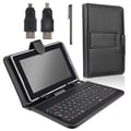 Insten® Leather Case With Keyboard and Stylus For 7in. Tablet, Black