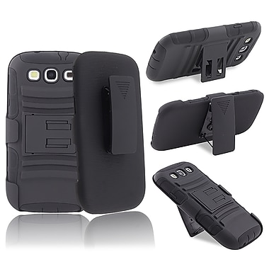 Insten® Silicone Hybrid Case With Stand Holster Combo For Samsung Galaxy S III i9300, Black