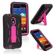 Insten® Silicone Hybrid Case With Stand For Samsung Epic 4G Touch D710, Hot Pink/Black