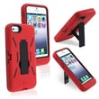 Insten® Silicone Hybrid Case With Stand For Apple iPhone 5, Black/Red
