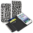 Insten® Leather Wallet Case With Card Holder For Apple iPhone 5/5S, White/Black Leopard