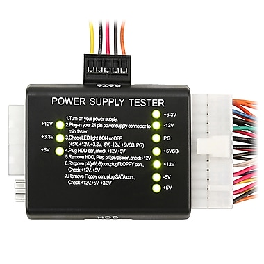 Insten® POTHSATATST1 20/24 Pin Power Supply Tester For ATX/SATA/HDD, Black