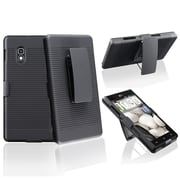 Insten® Plastic Swivel Holster With Stand For LG Optimus G E970, Black