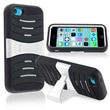 Insten® Silicone Hybrid Case With Stand For Apple iPhone 5C, Black/White